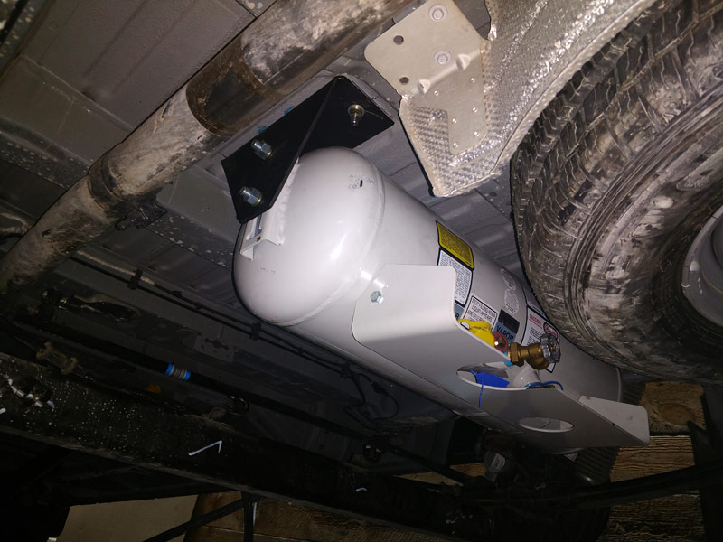 Propane Tank Behind Axle Installed