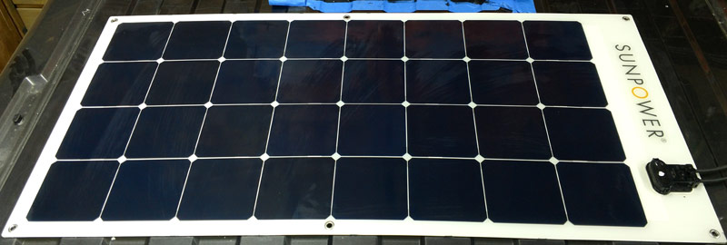 Sunpower flexible solar panel on Promaster panel mounted